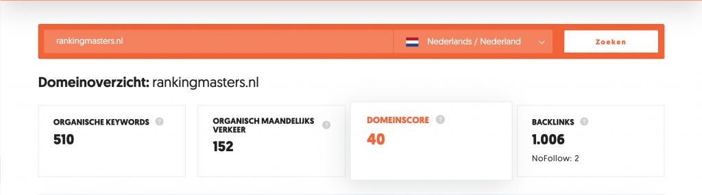 Domein Score van Ubersuggest