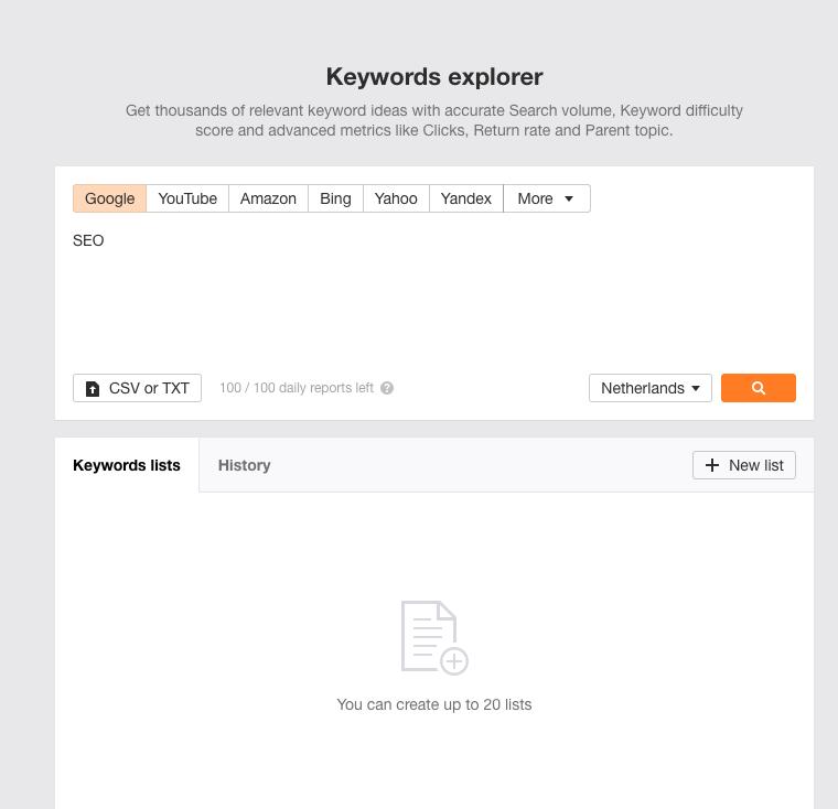 Ahrefs Keyword Explorer